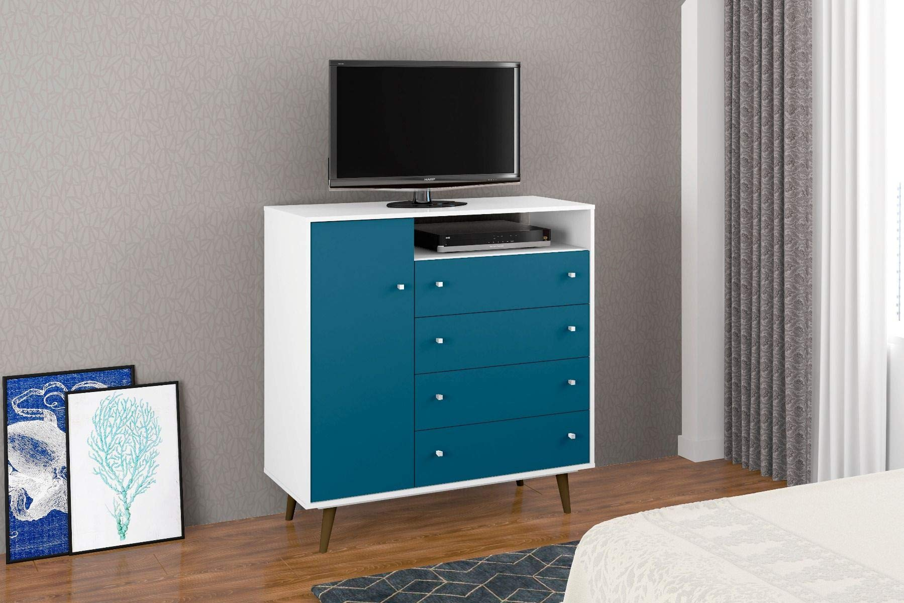 Mid Century Modern Sideboard Dresser Chest with 4 Drawers 4 Shelves 1 Door and Solid Wood Splayed Legs - Includes Modhaus Living Pen (White and Aqua Blue) -  - dressers-bedroom-furniture, bedroom-furniture, bedroom - 71cjMc4B5XL -