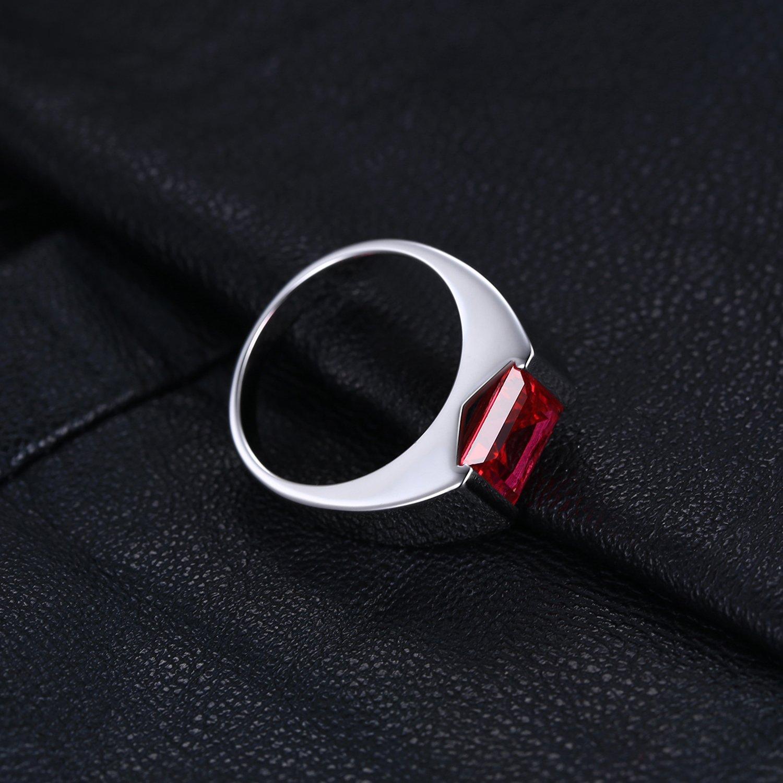 JewelryPalace 3.33ct Luxe Bague Homme en Argent Sterling 925 en Rubis de Synth/èse pour Fian/çailles Alliance Mariage Anniversaire Papa F/ête des P/ères Taille 59.5
