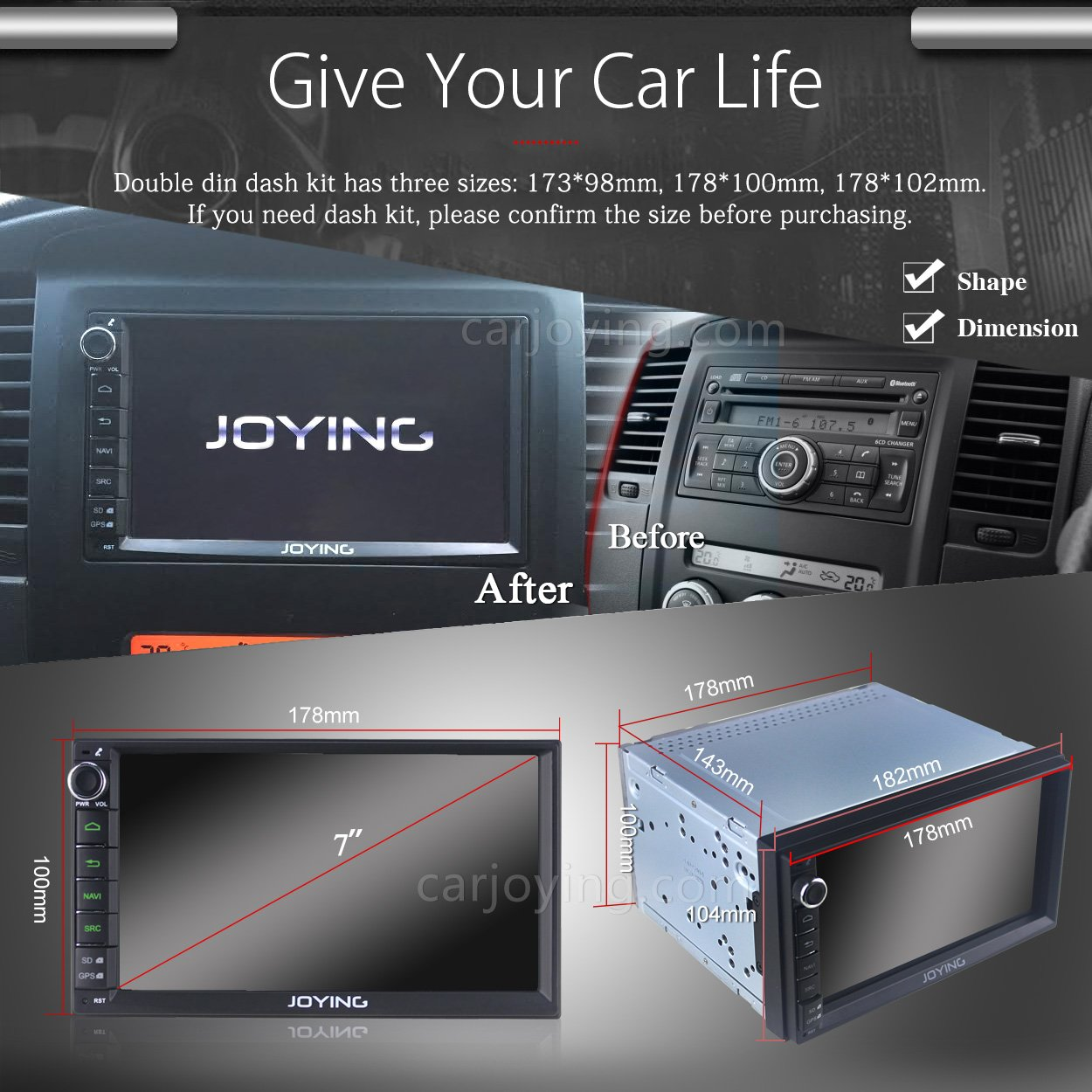 Joying 7 universal car radio android 6 0 marshmallow ddr3 2gb ram quad core auto stereo gps navigation head unit 1024 600 hd capacitive touch screen