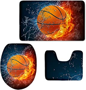 CHAQLIN Anti-Skid Back Fire Water Basketball Bathroom Rug Contour Mat Toilet Lid Cover 3 Piece Set
