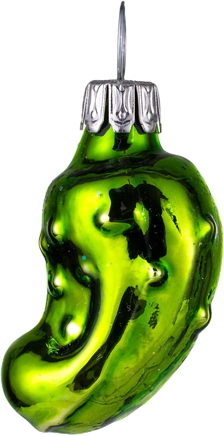 HolidayGiftShops Glass Christmas Mini Pickle Ornament (Apple Green)