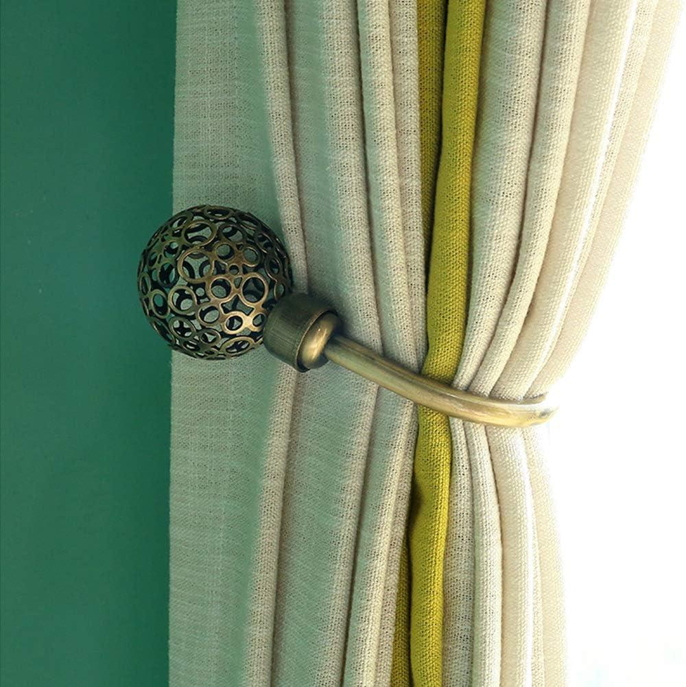 INCREWAY Lot de 2 Crochets de Rideau en Forme de U en Forme de Boule Creuse en m/étal avec vis et Embrasse de Rideau Bronze Antique
