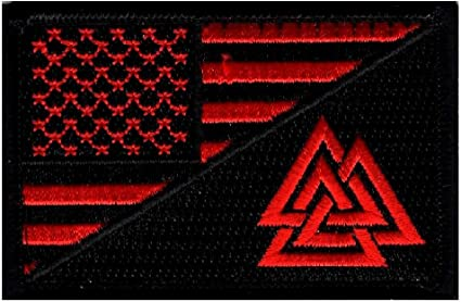 Amazon Com Usa Flag Valknut Viking Valhalla Odin Hook Patch R B By Miltacusa
