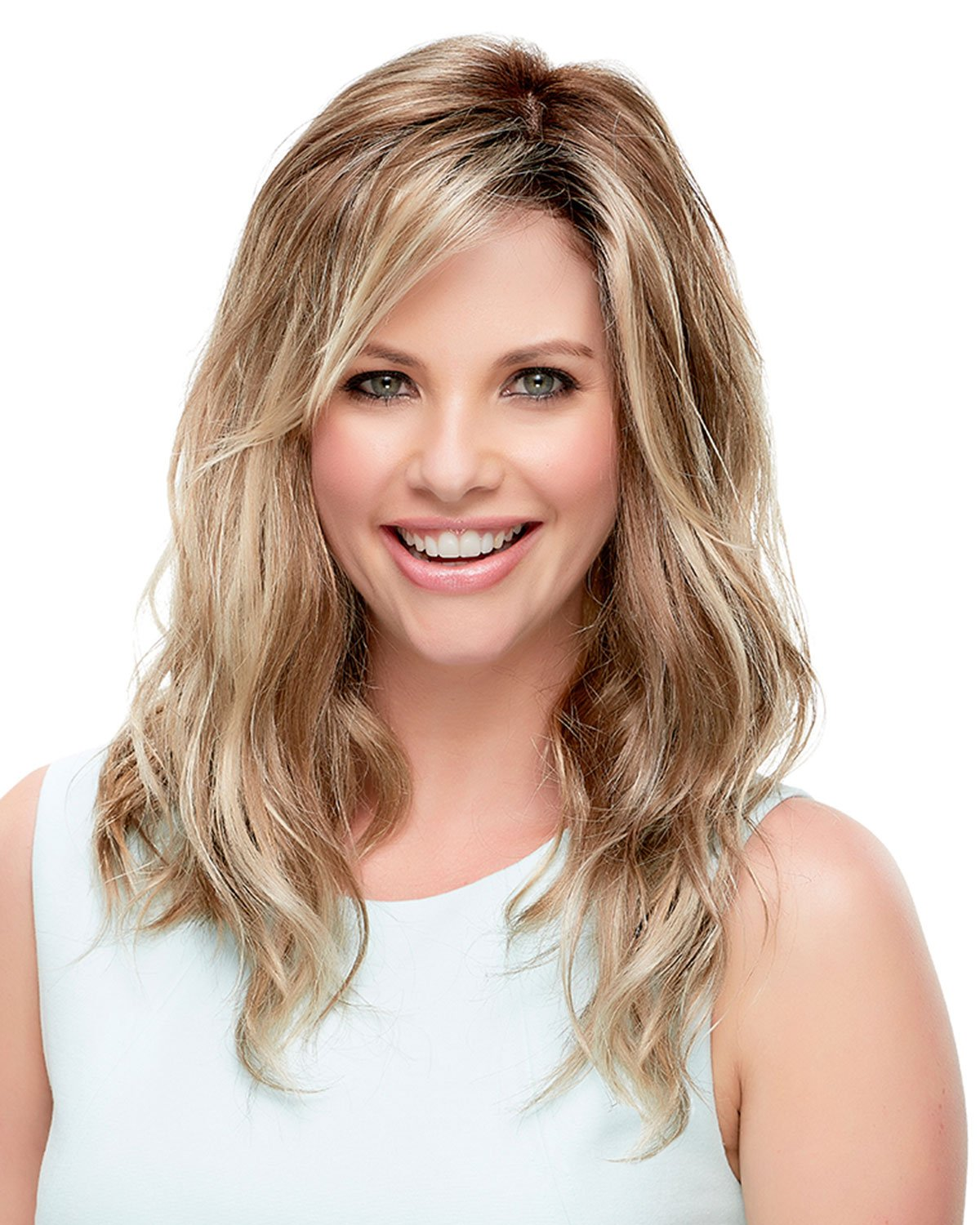 "Rachel SmartLace WigColor 12FS8 Shaded Prailine - Jon Renau Wigs 15"" Long Soft Wavy Layers Women's Lace Front Synthetic Monofilament Top Hand-Tied Natural Looking Hairline"