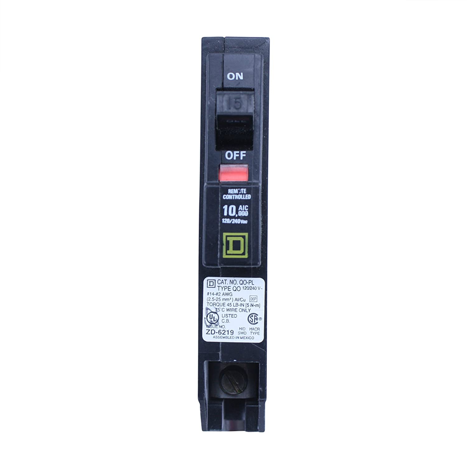 Square D Qo115pl Type Qo 1 Pole 15a 120 240v Remote Controlled Control Switch Circuit 7 Remotecontrolcircuit Breaker