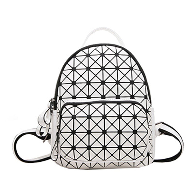 LOKOUO Fashion Women Backpack Geometric Plaid Sequin Female Scool Backpacks For Teenage Girls Bagpack Women Backpack