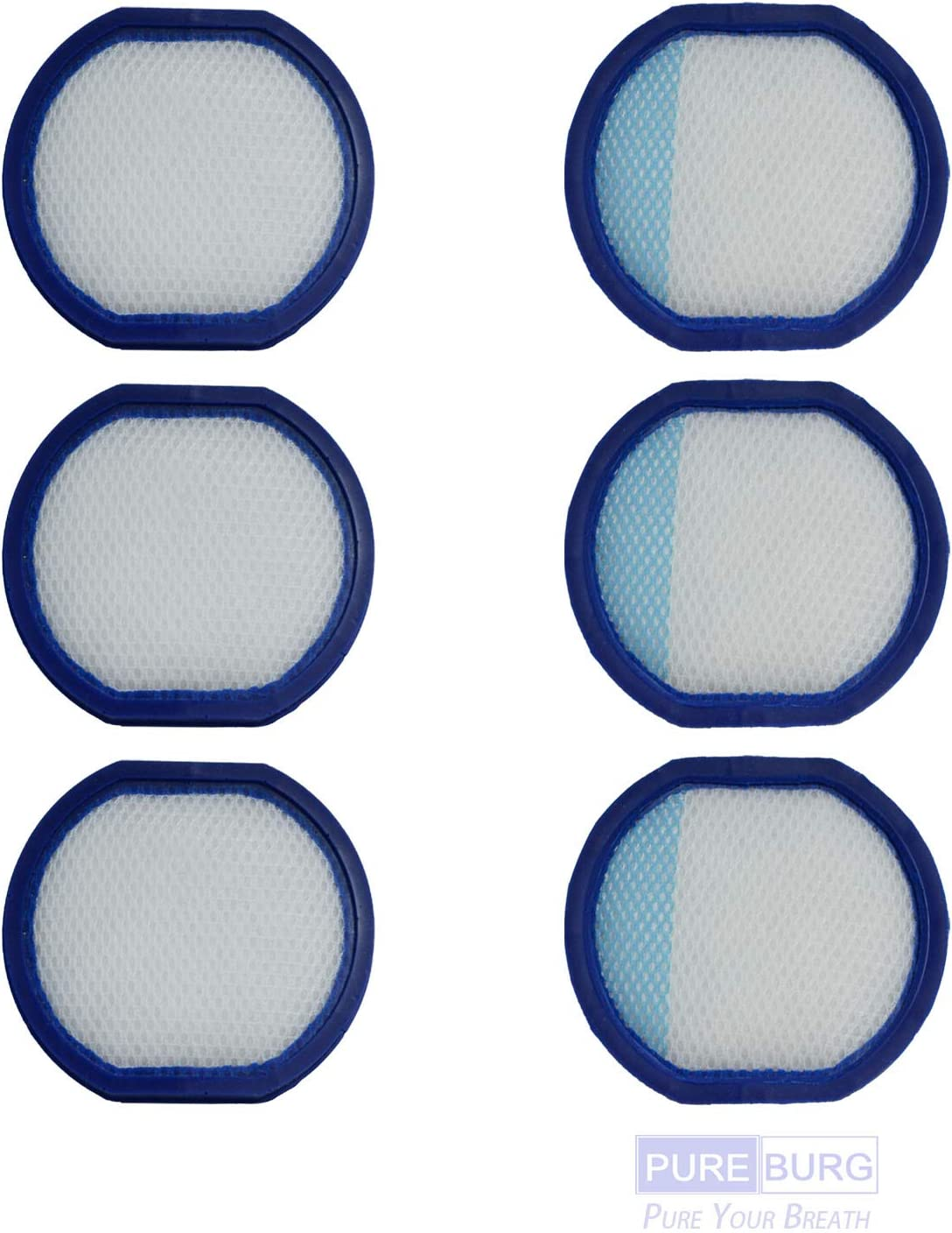 PUREBURG 6-Pack Replacement Vacuum Filter Compatible with Hoover React Whole Home & Fusion Max Cordless fits BH53200 BH53210 BH53220 BH53230pc BH53100 BH53110 BH53120 Part Number 440011434