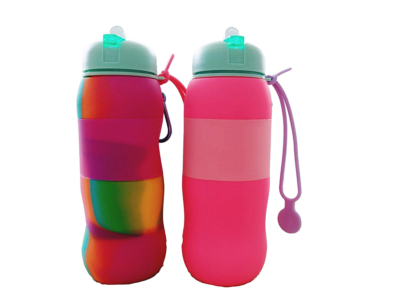 Best Starloop 2パックCollapsible Water Bottleシリコンアウトドア水Canteen – シリコン折りたたみ式with Leak ProofバルブBPAフリー、 B07F42W813 pink+mix