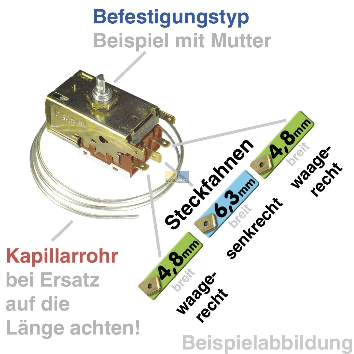 Thermostat K/ühlthermostat 0-Sterne-K/ühlschr/änke Original Bosch Siemens 00170157 Danfoss 077B6698 460mm Kapillarrohr 3x4,8//1x6,3mm AMP passend Balay Constructa DeDietrich Gaggenau K/üppersbusch Miele