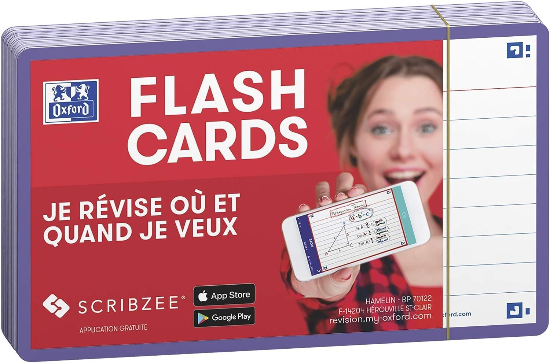 Oxford Flash 2.0 Lot de 80 Fiches Flash Cards Format 7 5 x 12 5cm Lign/é Recto//Verso Fiches Bristol cadre Turquoise