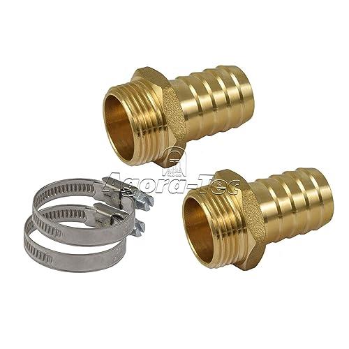Agora-Tec® Schlauchanschluss SET für 1 Zoll (25,4mm) Schlauch mit 2 Messing Schlauchtüllen 1 Zoll AG (33,3mm), 2 Edelstahlschlauchschellen und 2 Meter Loctite Gewindefaden