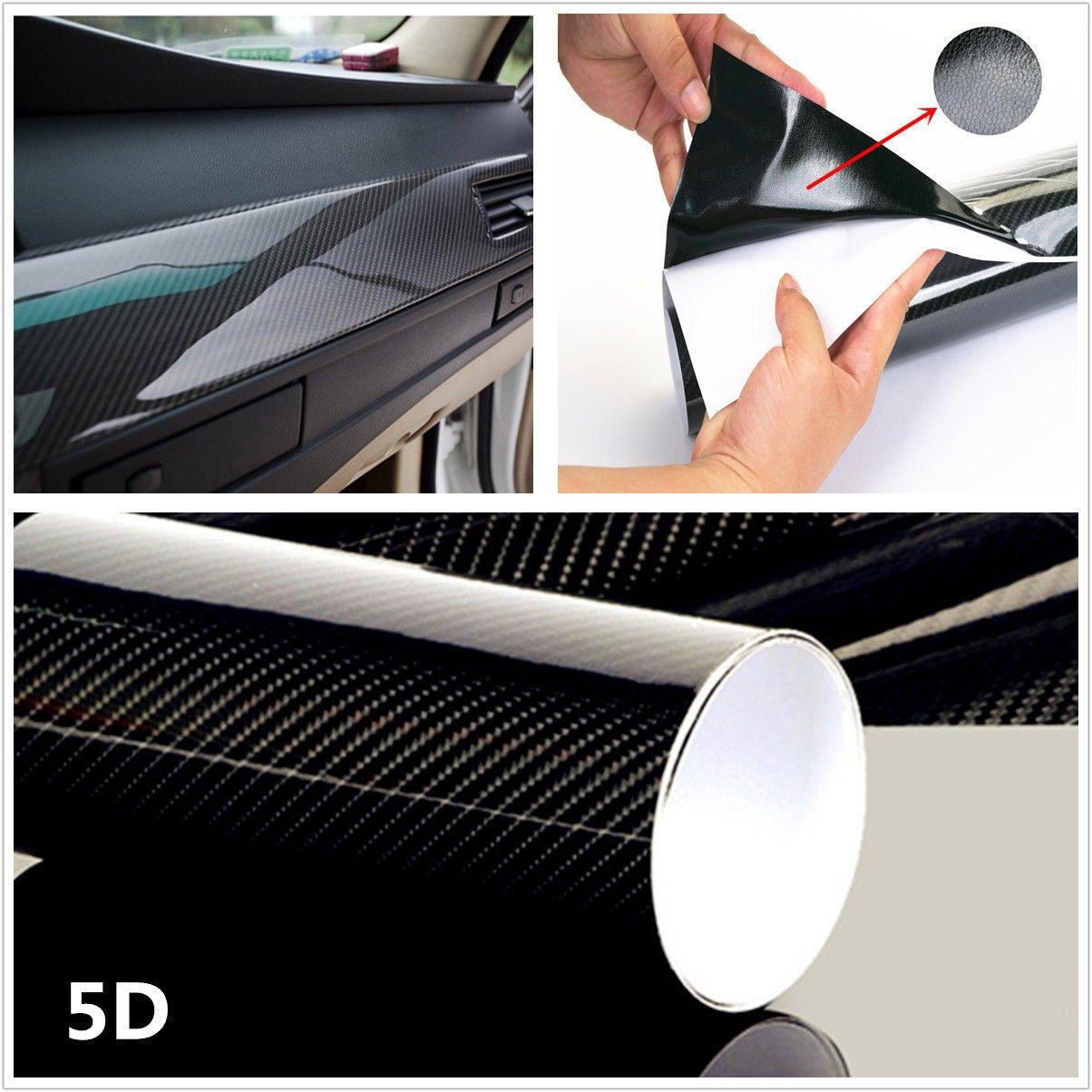 "15/""x40/"" 5D Ultra Shiny Gloss Glossy Black Carbon Fiber Vinyl Wrap Sticker Decal"