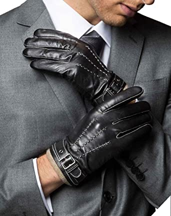 d1029dedb7 YISEVEN Men s Winter Cashmere Lined Touchscreen Lambskin Leather Gloves  Three Points and Buckle Belt Slim Hand