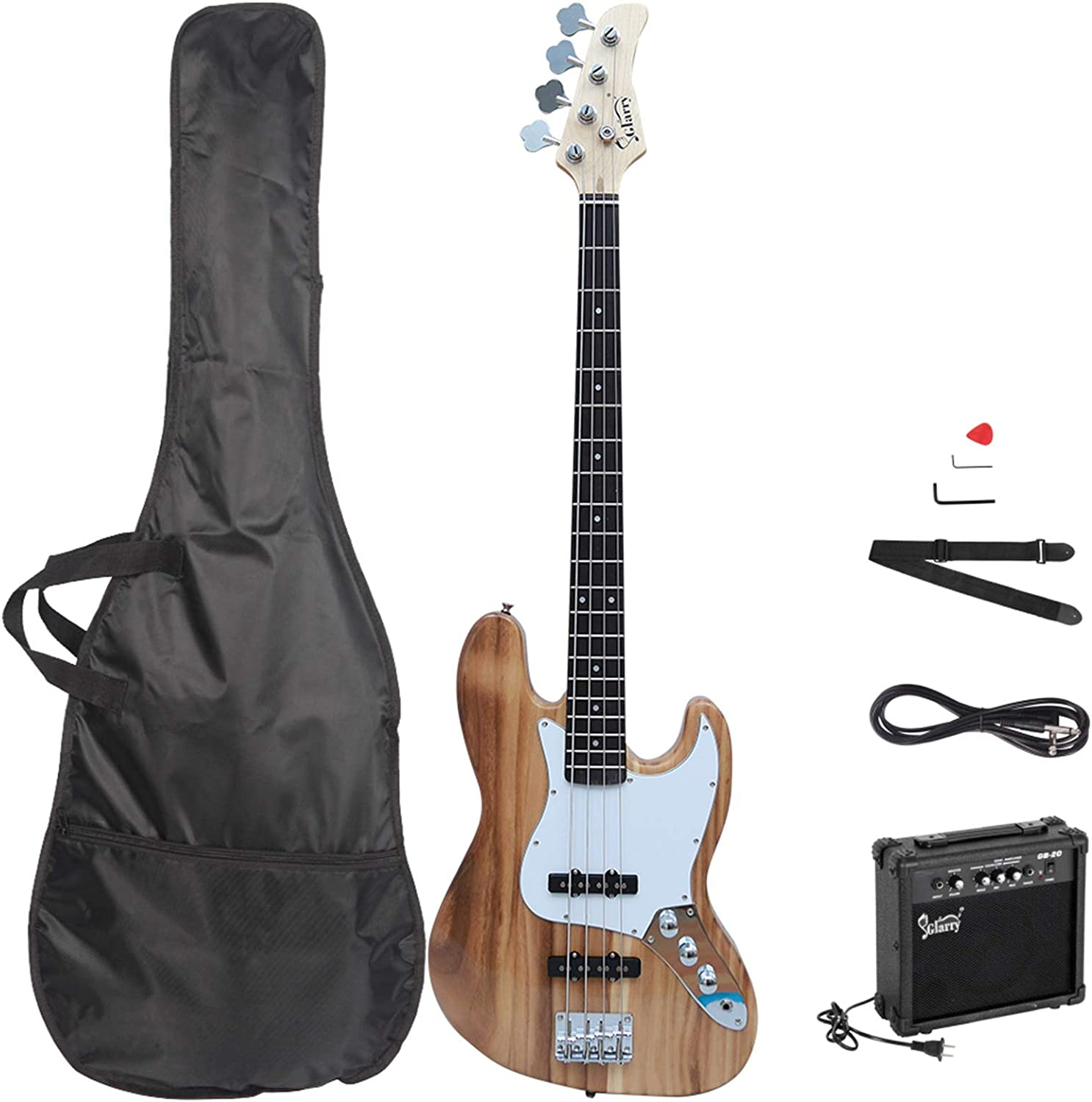 Jazz Electric Bass Guitar; Exquisite Basswood Electric Bass Guitar Bass Guitars Set With 20W Bass Amp/&Stereo Bag/&Shoulder Strap/&Pick/&Cord/&Wrench Tool; Used For Beginners /& Professionals; Burlywood