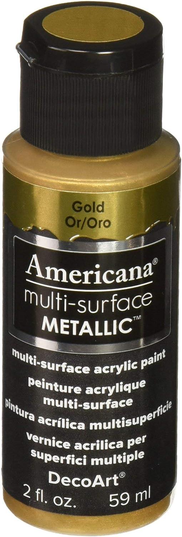 DecoArt Americana Multi-Surface Metallic Paint, 2-Ounce, Gold (DA553-30)