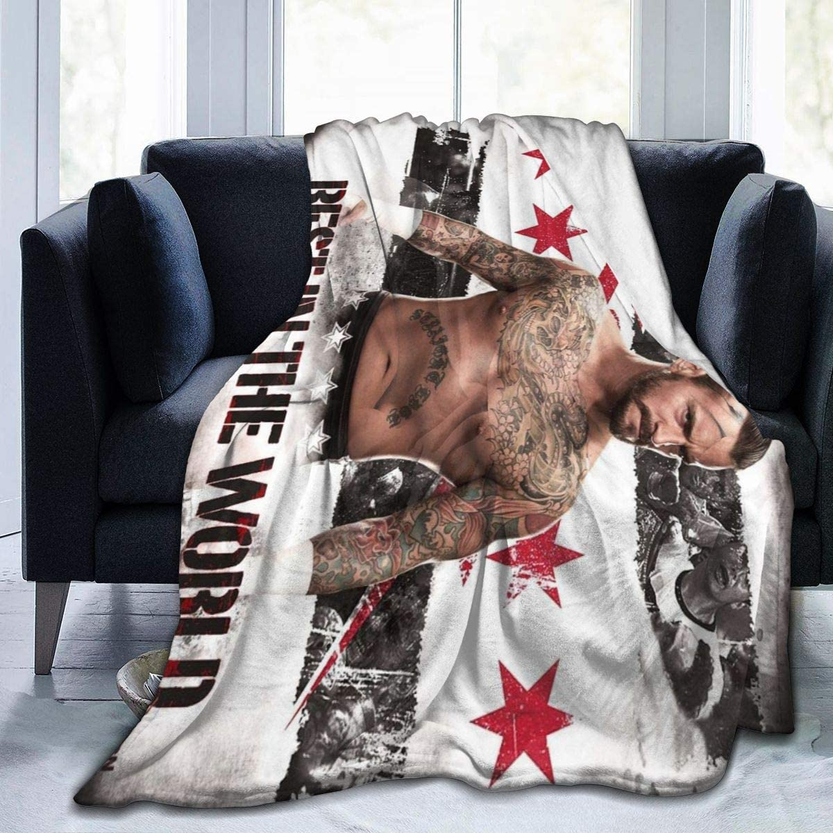 WWE CM Pu&nk Iconic action Flannel Throw Blanket