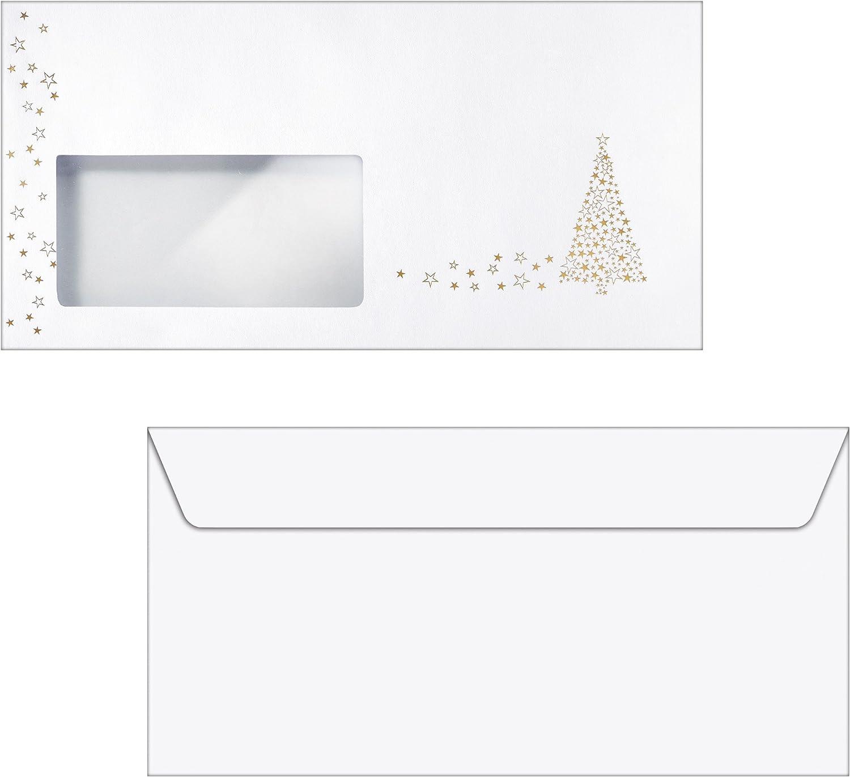 SIGEL DU082 Briefumschl/äge Weihnachten Christmas Greetings gummiert DIN lang Fensterstanzung 25 St/ück