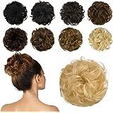 FESHFEN 100% Human Hair Bun Extension, Messy Bun Hair Piece Curly Hair Scrunchies Chignon Ponytail Extensions for Women…