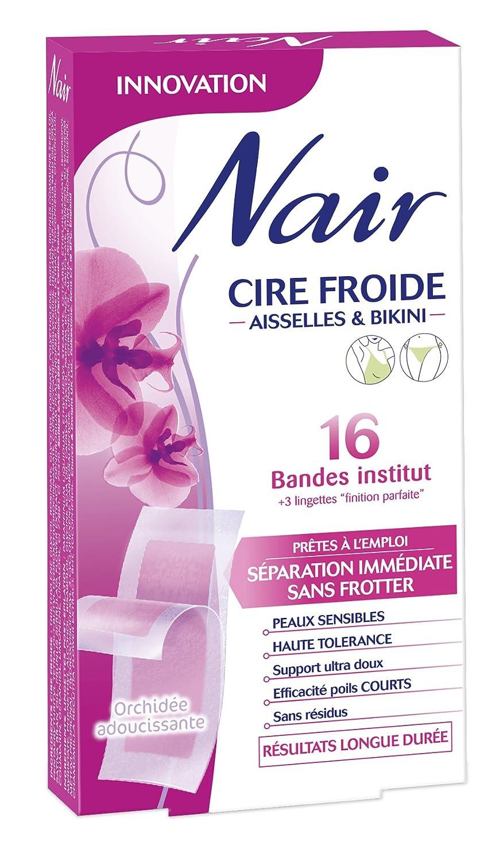 NAIR - Tiras de cera fría para las axilas o Bikini, 16 cintas