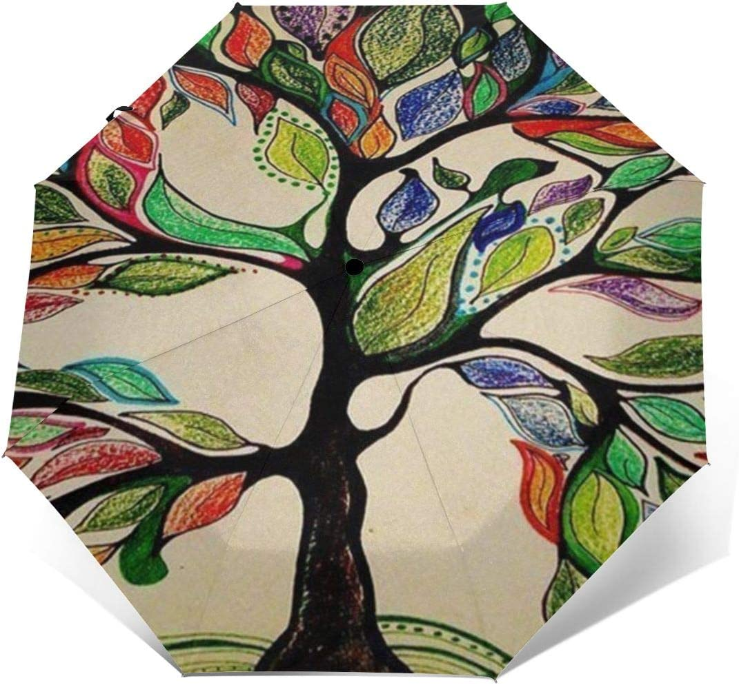 Colorful Tree Of Life Gorgeous Like Feather Umbrella Compact Rain/&Wind Repellent Umbrellas Sun Protection With Anti UV Coating Travel Auto Folding Umbrella
