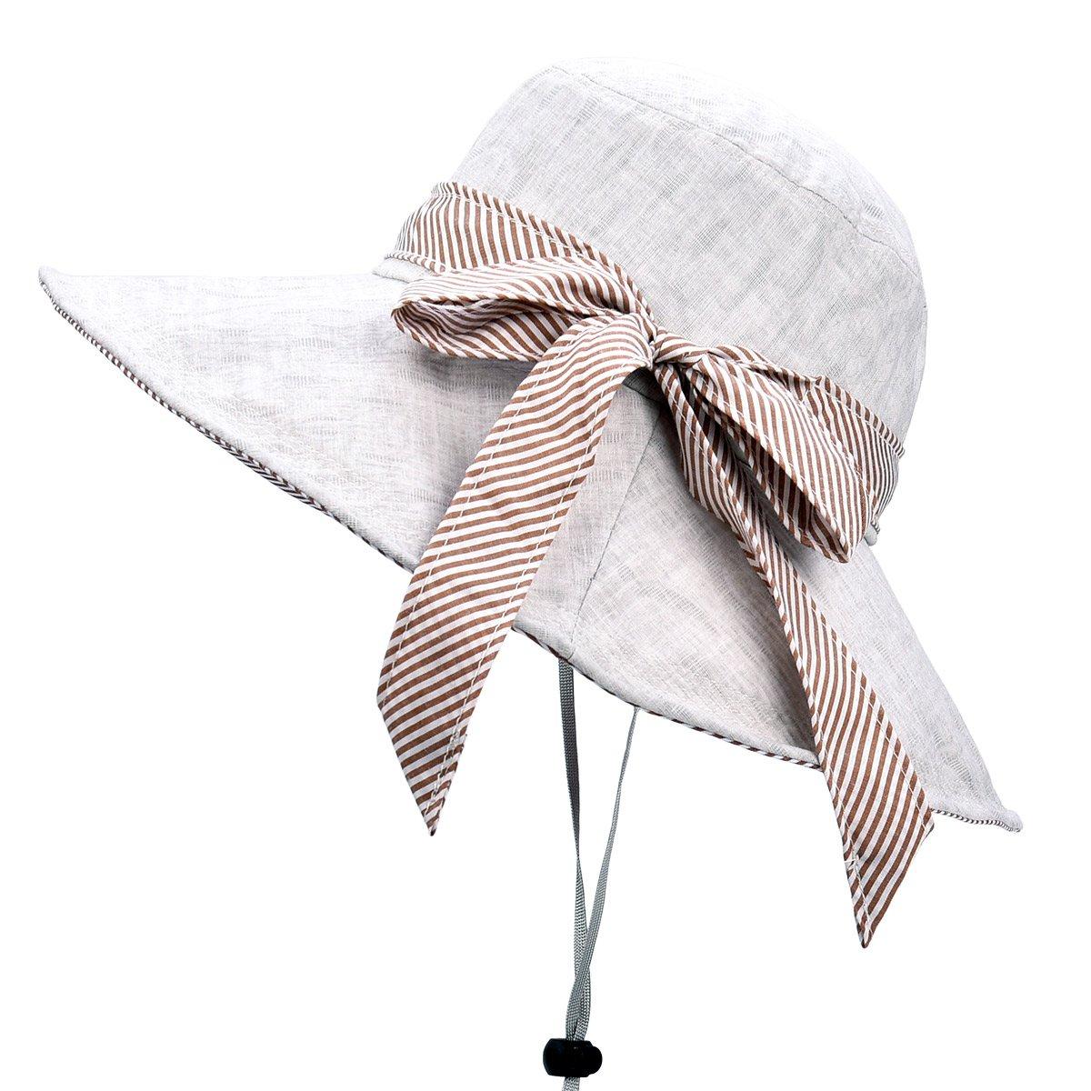 Sun Hats for Women Roll-up Wide Brim Summer Beach Hat Foldable Floppy Cotton Hat