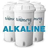 WAMERY Certified Alkaline Water Filter Replacement 3-Pack, Enhanced 2020 Model, Fits Brita and Wamery Pitcher, Increases Wate