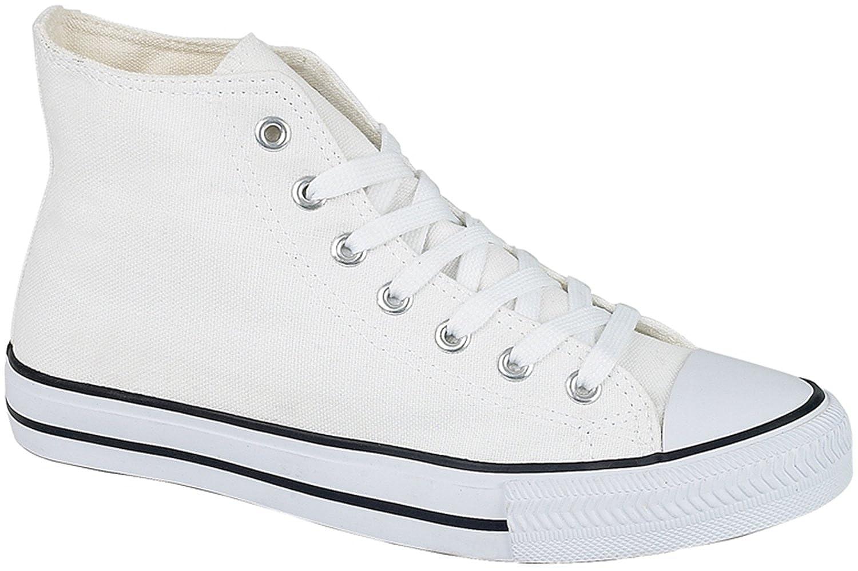 2e9e8e955285 Black High Top Ankle Boots Canvas Baseball Trainers Womens Mens ...