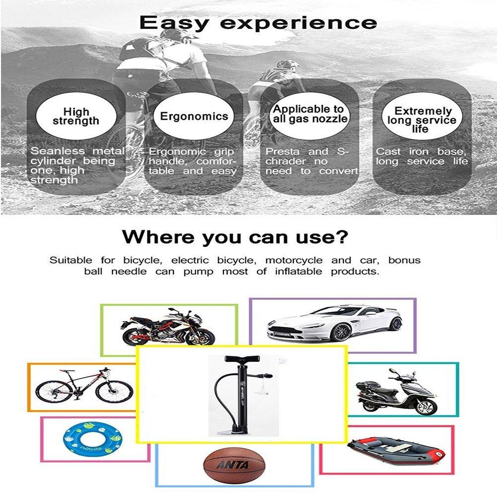 Letton Luftpumpe f/ür Fahrr/äder tragbare Mini-Bike Standpumpe f/ür Standard Schrader und Presta Fahrradventile 120psi mit Multifunktions-Kugel-Nadel