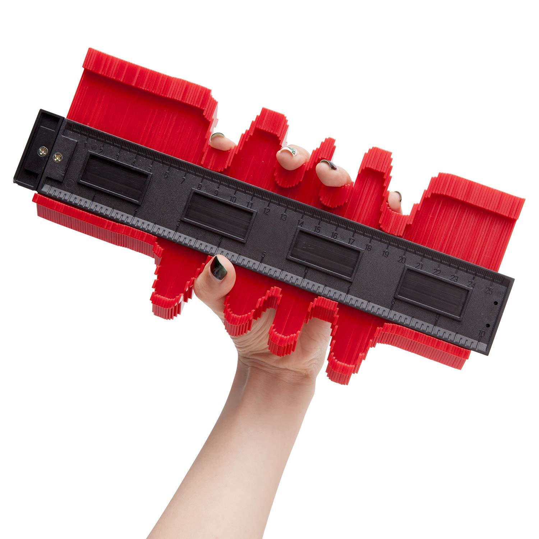 25,4 cm calibre de perfil de pl/ástico azulejos laminados Duplicador de calibre de contorno herramienta est/ándar de marcado de madera herramienta de duplicaci/ón de contorno de copia