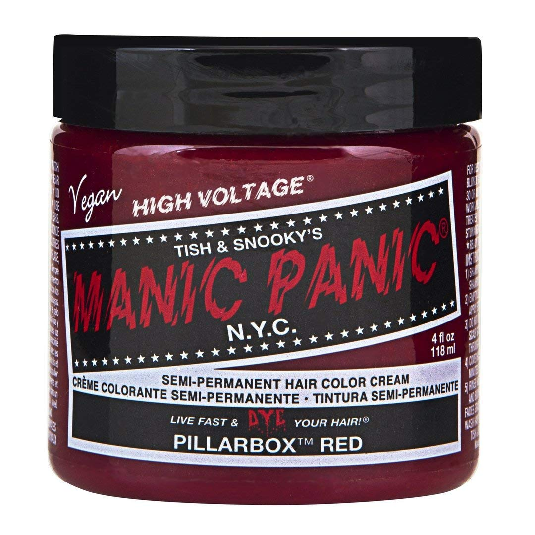 Manic Panic Pillarbox Red Hair Dye - Classic High Voltage - Semi Permanent Hair Color - Deep True Red Color - For Dark & Light Hair – Vegan, PPD & Ammonia-Free - For Coloring Hair on Women & Men