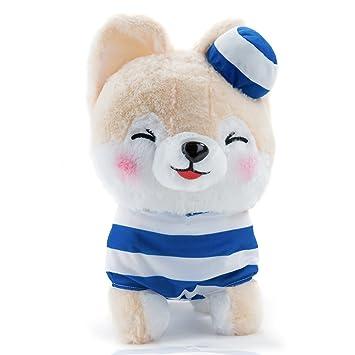 Peluche perro Shiba como de marinero suave y Zambaiti gato con uniforme en azul – Plástico