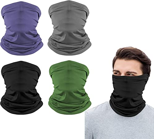 4Pcs Multifunctional Headwear Bandana Scarfs Unisex Snood Neck Headwear Bandana Face Coverings Washable Breathable for Fishing Hiking Running Cycling Outdoors Sports Women Men