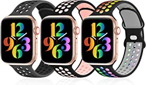 iWabcertoo 3 Pack Sport Bands Compatible with Apple Watch Bands 38mm 40mm 42mm 44mm, Breathable Soft Silicone Sport Wristbands Replacement Strap Compatible with iWatch Series SE/6/5/4/3/2/1 Women Men