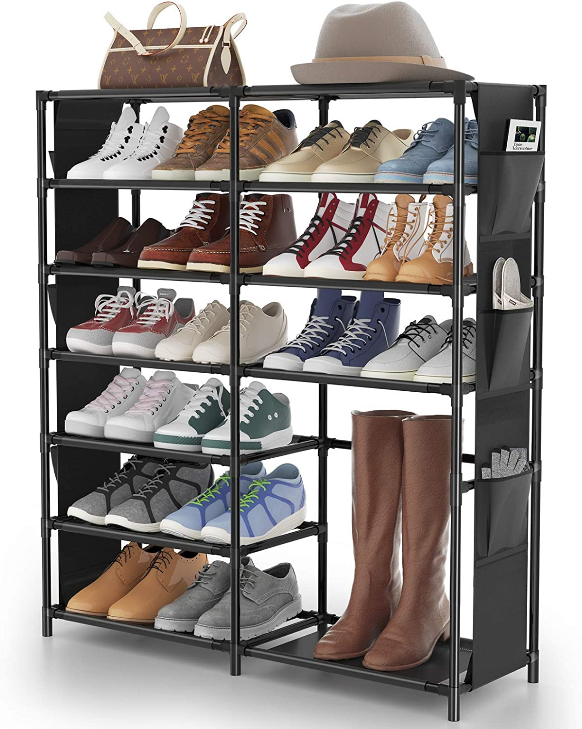 Amazon Com 7 Tier Shoe Rack Shoe Shelf Organizer Jomarto 24 30 Pairs Shoes And Boots Storage Organizer Metal Shoe Tower With Side Hanging Shoe Pockets For Entryway Closet And Bedroom Home Improvement