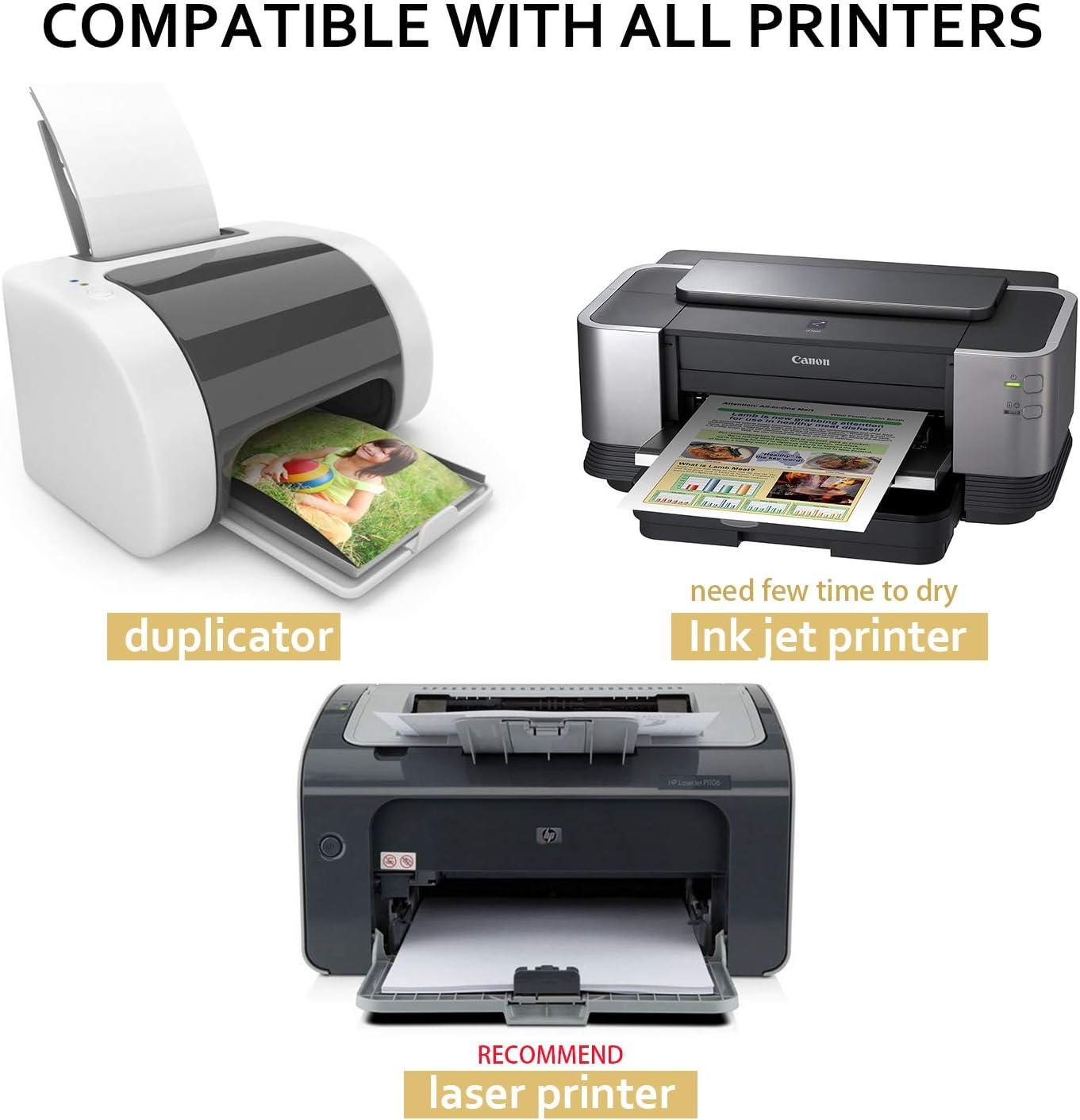 Magicdo 65pcs papel adhesivo brillante, autoadhesivo A4/pegajosa hoja de papel de impresión trasera para inyección de tinta, impresoras láser: Amazon.es: Oficina y papelería