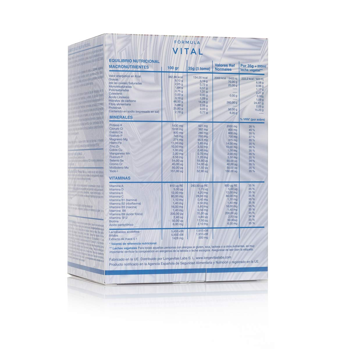 Fórmula Vital es el complemento nutricional de Longevitas Labs, a base de proteínas vegetales, prebióticos y extracto de maca, te ayuda a perder peso y ...