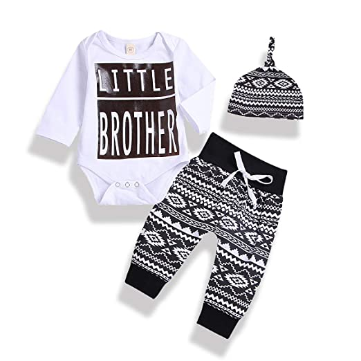 30f170bcded1 3Pcs Newborn Baby Boys Long Sleeve Little Brother Romper Geometric Pattern Pants  Hat Outfits Clothes Set