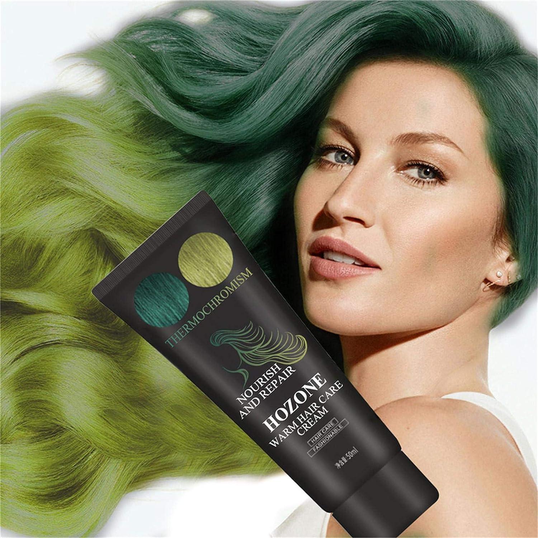 Crema de tinte para el cabello termocromática que cambia de color bricolaje semipermanente para teñir el cabello cera pintura temporal efecto de ...