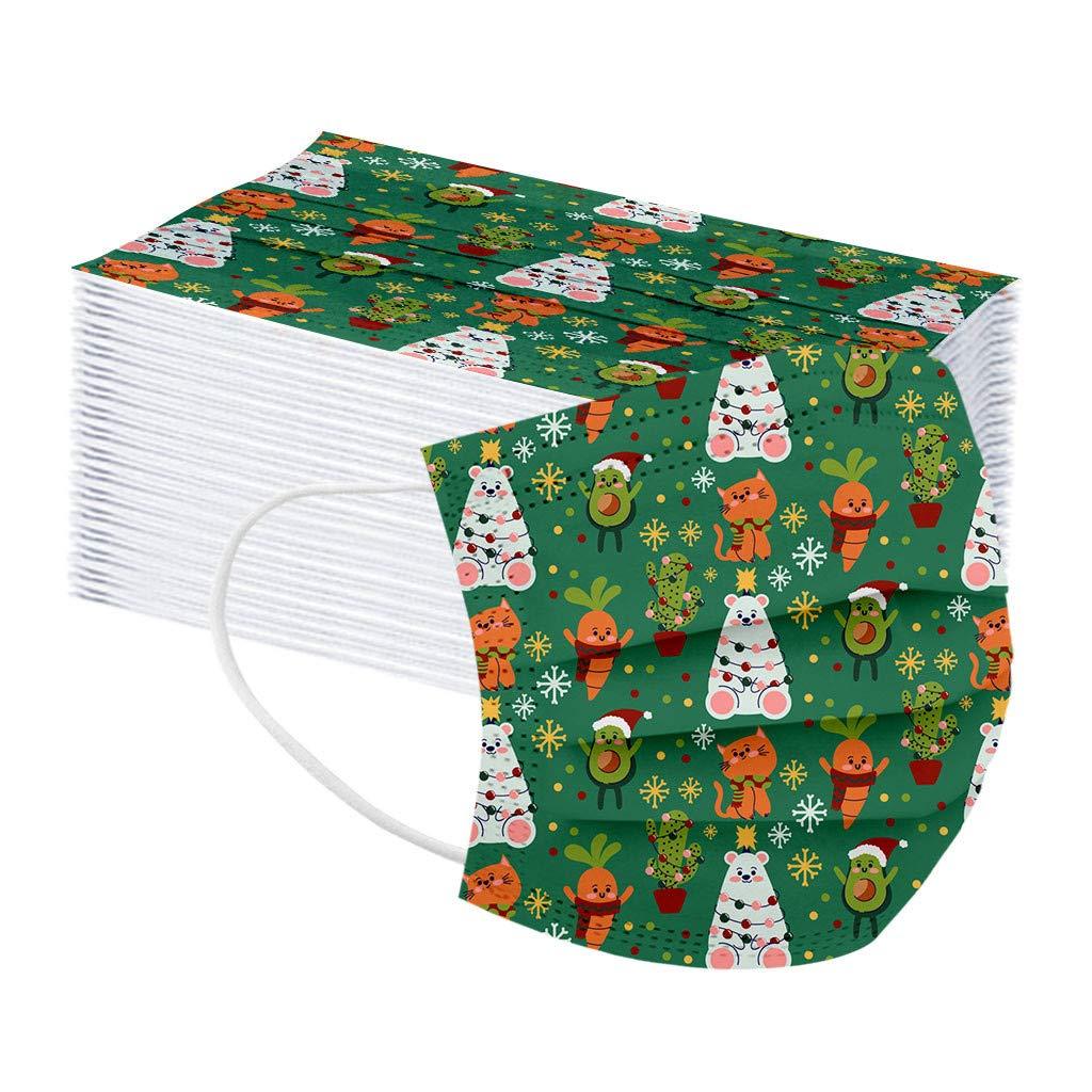 COSEE 10Piezas Impresión de Dibujos Animados de Navidad para Adultos 𝐌𝐚𝐬𝐜𝐚𝐫𝐢𝐥𝐥𝐚𝐬 Protección 3 Capas Transpirables con Elástico para Los Oídos -911