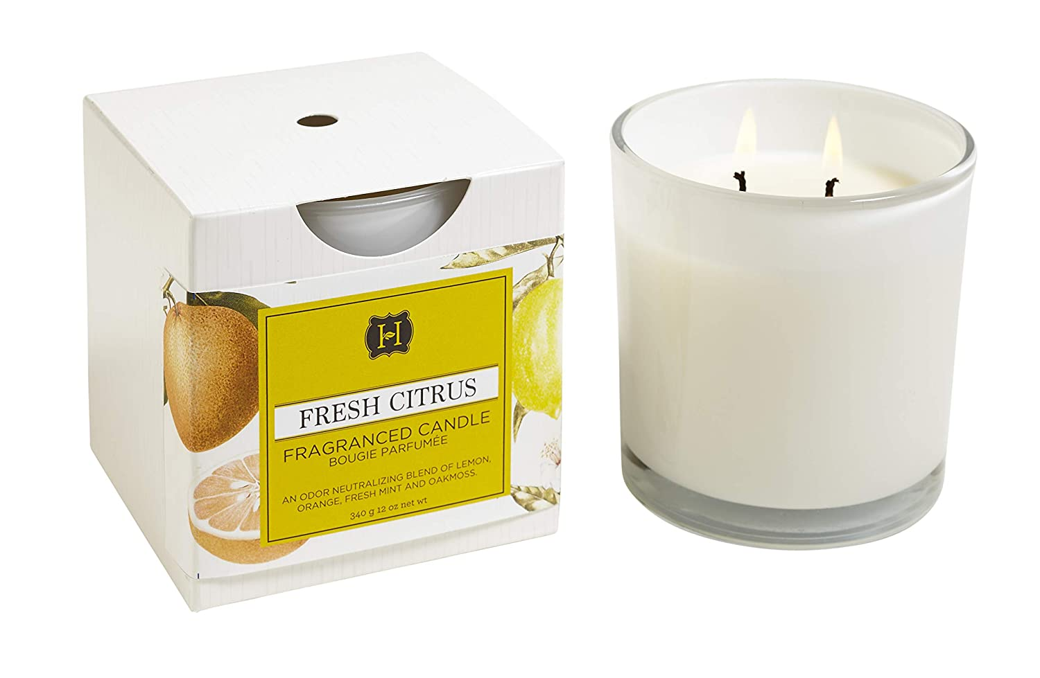 Hillhouse Naturals, Fresh Citrus 2 Wick Candle in White Glass, 12 Ounces