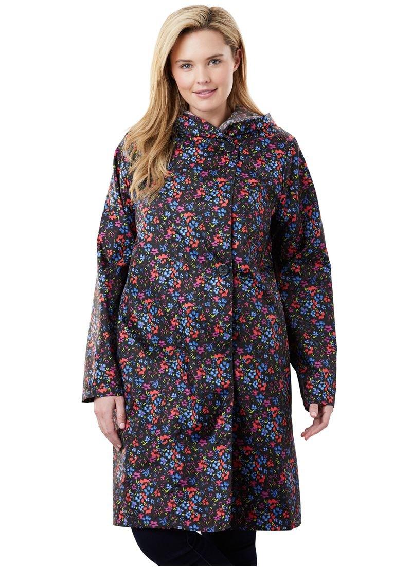 Women's Plus Size Packable Water-Resistant Hooded Raincoat with Zip Bag Multi