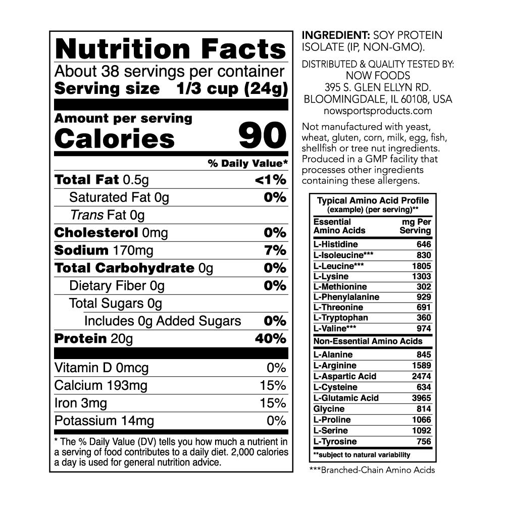 NOW Sports Nutrition, Soy Protein Isolate Powder, Unflavored, 2-Pound by Now Sports (Image #2)