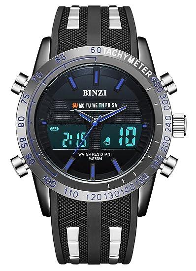 BINZI Casual Reloj De Pulsera Relojes Deportivos A Prueba De Agua Reloj Digital Reloj De Lujo De Lujo LED Doble Reloj Cronómetro Alarma Reloj Semana ...