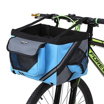Lixada Bicicleta de Manillar Cesta, Bicicleta Caja Delantera Bolsa con Banda Reflectante, Cesta de Gran Capacidad, Extraíble, Plegable, Mascota Perro ...