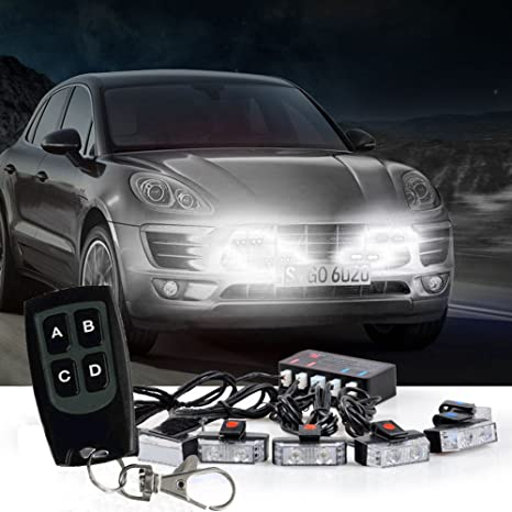 Vehicle Strobe Lights >> Atmomo White Led Flashing Modes Car Truck Emergency Flash Dash Vehicle Strobe Light Lamp Bars Warning Deck Dash Front Rear Grille With Remote Control