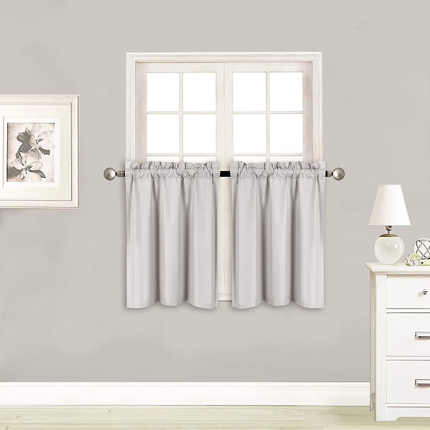 Elegant Home 2 Panels Tiers Small Window Treatment Curtain Insulated Blackout Drape Short Panel 28 W X 24 L Each for Kitchen Bathroom or Any Small Window # R16 Silver//Grey
