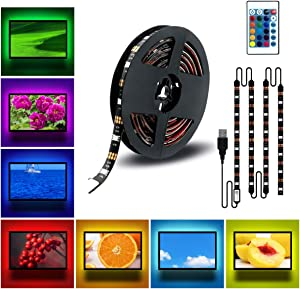 DDeLi LED Strip Lights 6.56ft USB TV Backlight DC 5V RGB Strip Lights for 40 to 60 in HDTV Desktop PC Neon TV Lights Bias Lighting with 24 Key Remote USB Car Strip Light