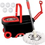 LETTON Microfiber Spin Mop and Bucket Set Stainless Steel Basket with