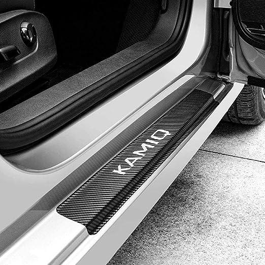 Aeveils 4pcs Kohlefaser Auto Einstiegsleisten Türschweller Für Skoda Kamiq Willkommen Pedal Scuff Threshold Bar Schutzaufkleber Streifen Plate Protector Küche Haushalt