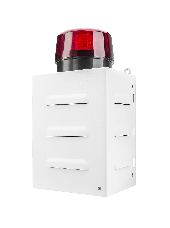 TR 1 Ferngesteuerte Alarmsirene für den Notfall (Fernbedienung, Außenbereich, 100 dB, Metallgehäuse, Batteriebetrieb, LED Anzeige, Blitzlicht) Weiß Dual 74568